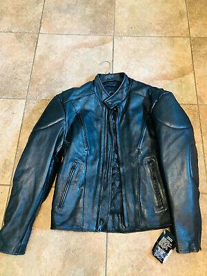 Men's Black Leather Jacket Size 40 Heavy Motorcycle Leather Unik Ultra NEW