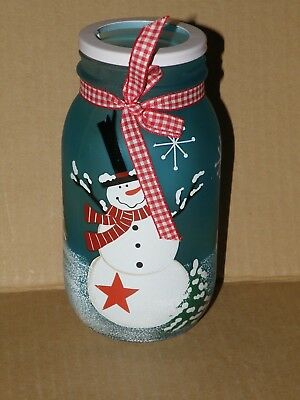 BLUE FROSTED SNOWMAN MASON JAR CANDLE HOLDER NEW