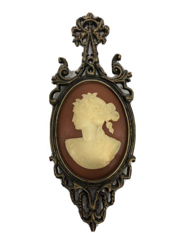 Vintage Brass Victorian Style Cameo Wall Plaque Number 506