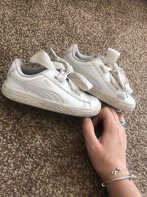 Girls Puma Baskets Patent White Infant Size 9