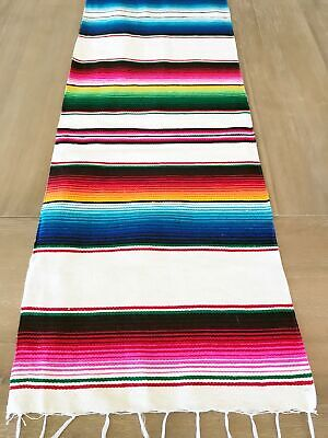 Mexican Serape Table Runner White Colorful accents](White Runner)