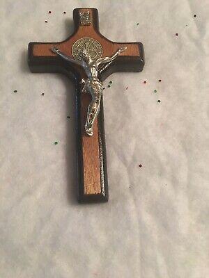 Wooden Crucifix Jesus Christ Cross St. Benedict Wall Hanging Cross