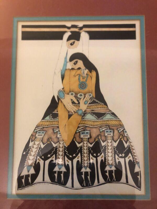 Amado Pena Framed Matted signed 1977 Native Women Lithograph Art Southwest