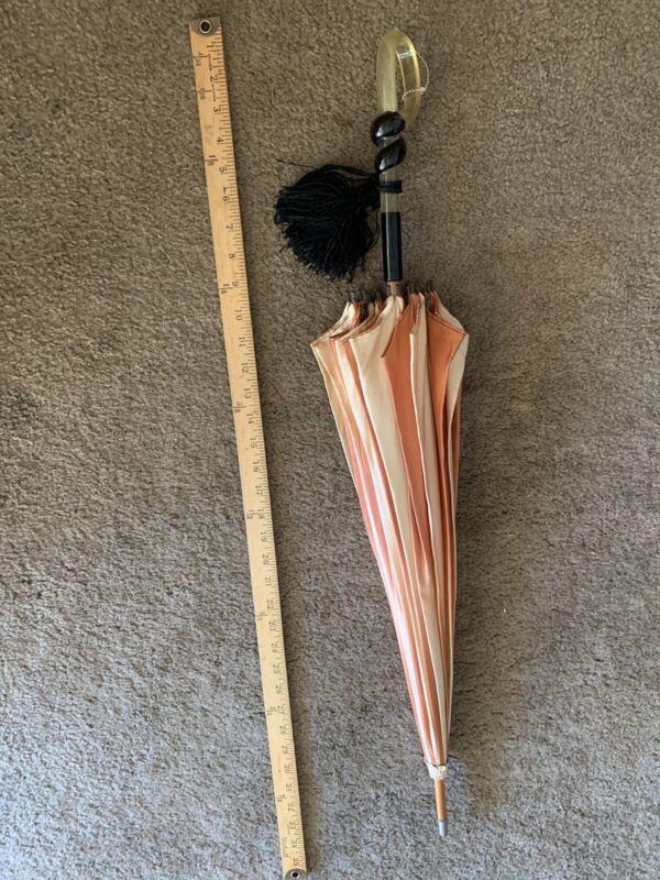 Antique Victorian Vintage  Parasol Umbrella Bamboo Wood
