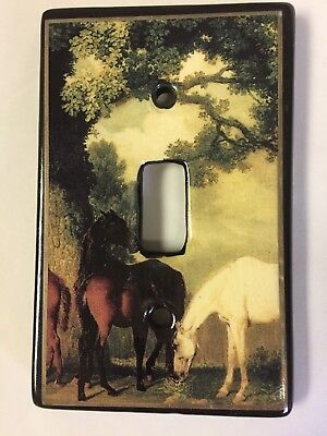 Horse Single Toggle Switch plate light cover Ceramic Heaven without Horses NEW 2 Single Switchplate Cover