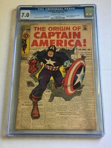 CAPTAIN AMERICA #109 CGC 7.0 Origin of Captain America CLASSIC JACK KIRBY COVER