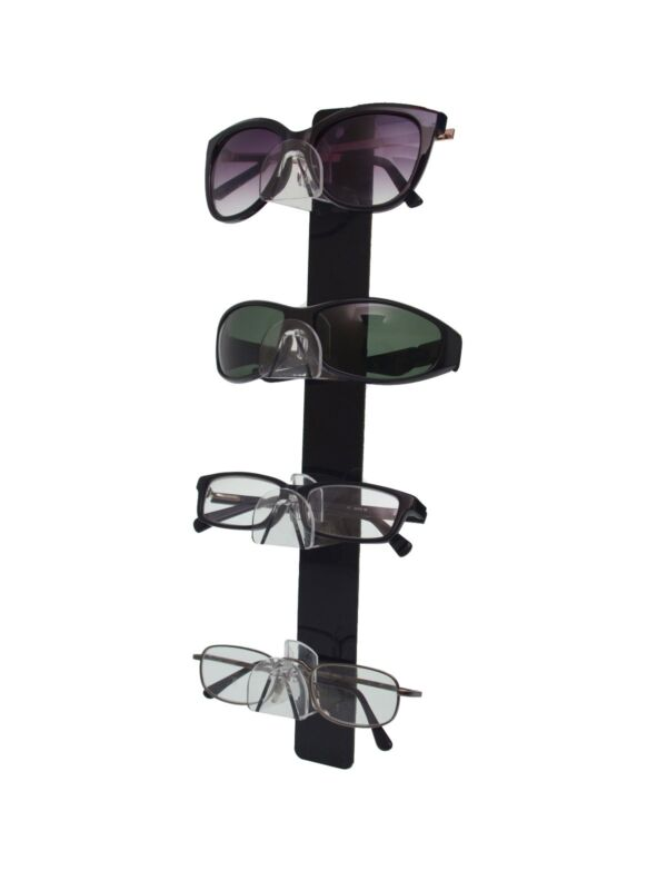4 Tier Sunglasses Eyeglasses Wall Display with Black Back Clear Nose Acrylic