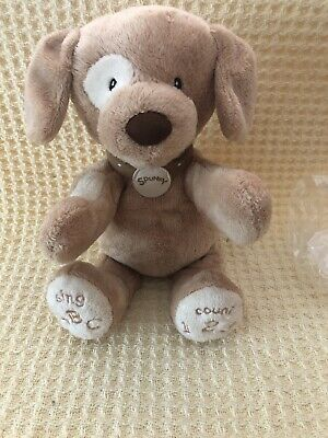 Baby Gund ABC 123 Spunky Plush Animated Infant Toy Tan Dog Puppy Sings Talks