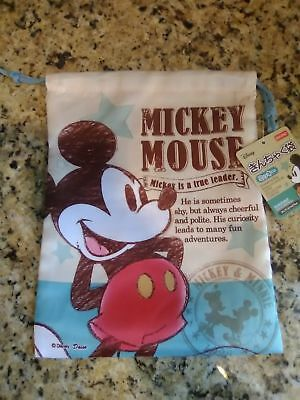 RARE NEW Daiso Japan Disney Mickey Mouse small Drawstring Bag ADORABLE ! (New Adorable Japan)