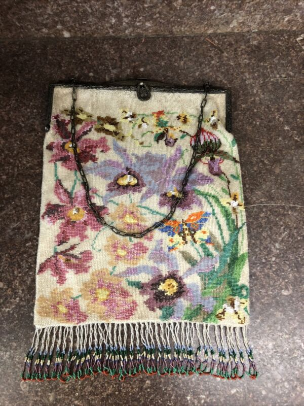 Antique Germany Embroidered Beaded Purse Floral Butterfly - Exceptional
