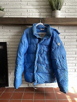 RARE Vintage Moncler Grenoble Blue Hooded Puffer Down Jacket XXL 56 Snow Winter