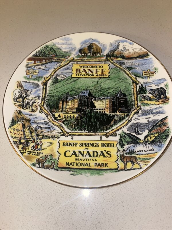 Banff Springs Hotel Canada Vintage Collectors Plate Souvenir Springs Mt Rundle