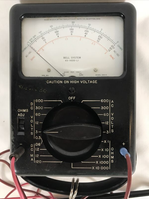 Vintage Electric Volt Ohm Meters Bell System, KS-14510 630D Tested Works See Pic