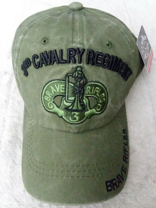 3rd Cavalry Regiment Olive Green Cap US Army Low Profile Cotton Brave Rifles Hat