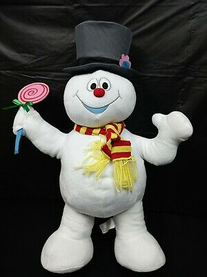 """Gemmy Frosty The Snowman 27"""" Standing Plush Display With Lolipop"""