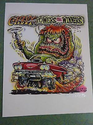CHEVY POWERS WINNERS JOHNNY ACE ORIGINAL ART RAT FINK ED BIG DADDY ROTH SURFER