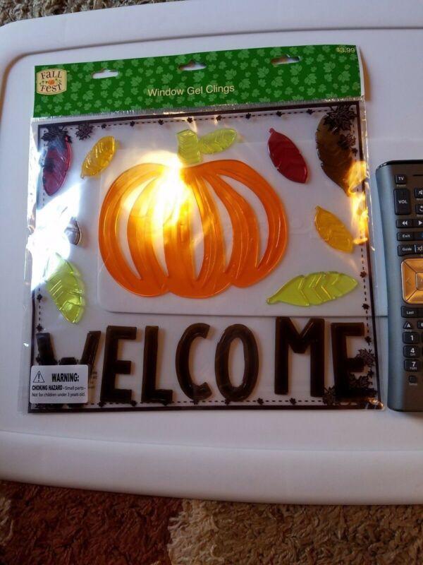 "Fall Fest ""Welcome"" Leaves & Pumpkin Window Gel Clings Thanksgiving New"