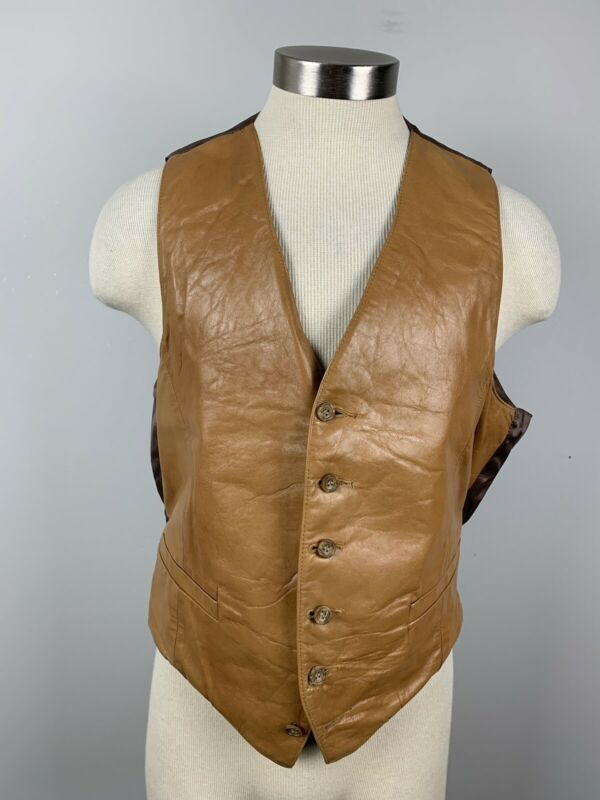 VTG 50s 60s Brown Leather Wickfield western gunslinger vest biker 44 L Large