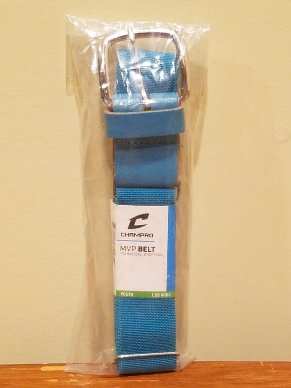 """Champro Youth 1.25-wide Baseball Softball MVP Belt Adjustable from 18-34"""" - Teal"""
