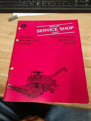 Original Oem John Deere 6600 And 7700 Om-h78023 Combines Operators Manual