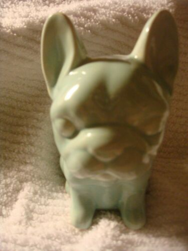 NIB French Bulldog Ceramic Very Pale Turquoise Bank