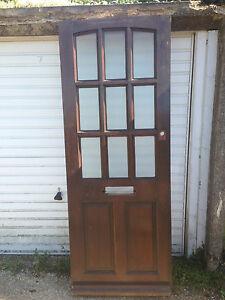 Timber hardwood front back wooden wood door solid glazed for Wooden exterior back doors