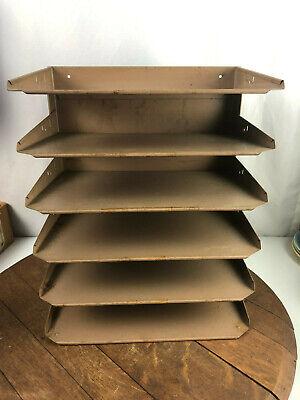 Vintage Lit-ning Industrial Brown Metal Desk Paper Organizer 6 Trays Mid Century