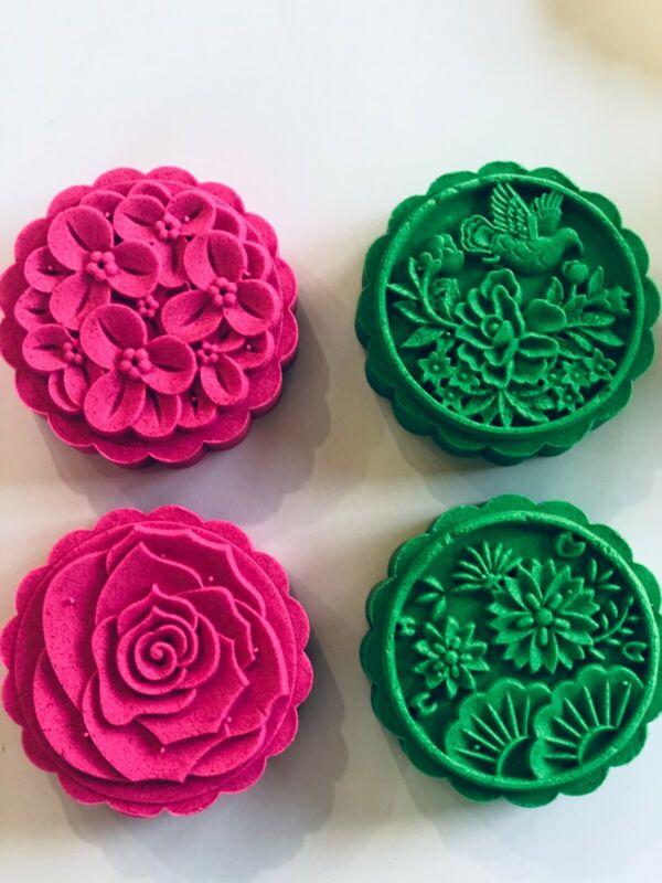 150g-185g | Moon Cake Mold FLOWER ROSE BIRD lotus Stamp Cookie Bath Bomb