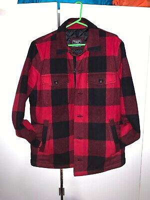 Abercrombie And Fitch Quilted Flannel Shirt Jacket Men's size M Nylon Quilted