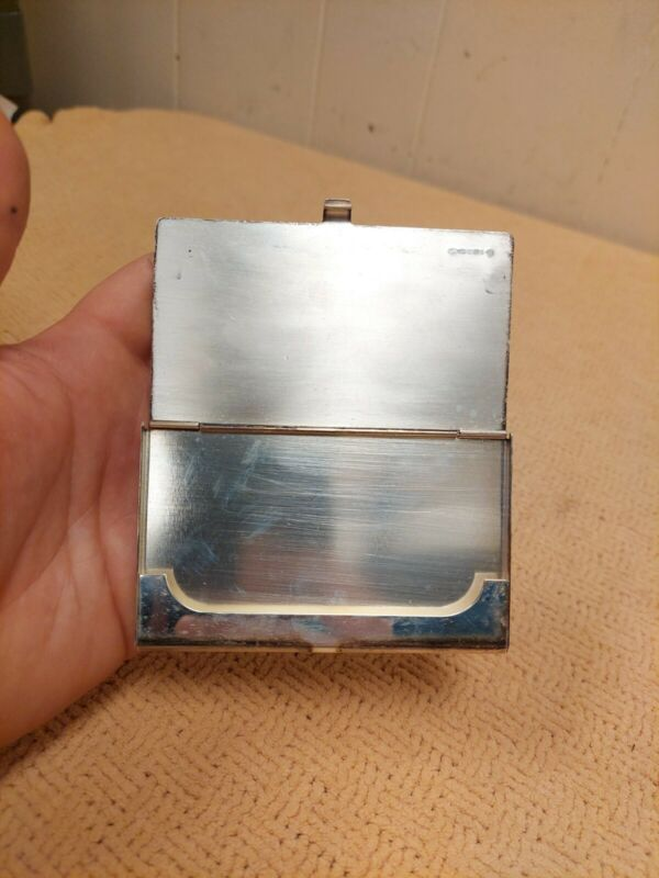 """VINTAGE """"LL"""" .925 STERLING SILVER  BUSINESS CARD HOLDER UNKNOWN MARKINGS RARE"""