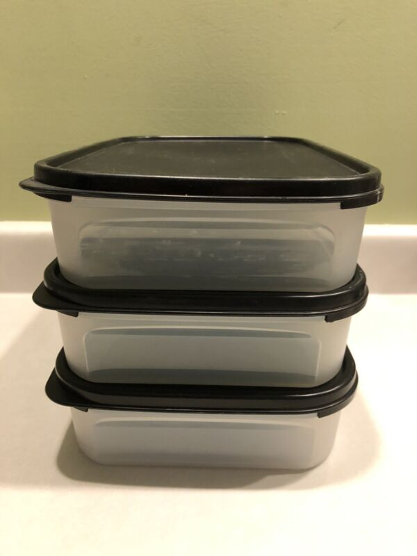 Tupperware Modular Mates Rectangle Black Seals 3 Containers #1 Rectangular