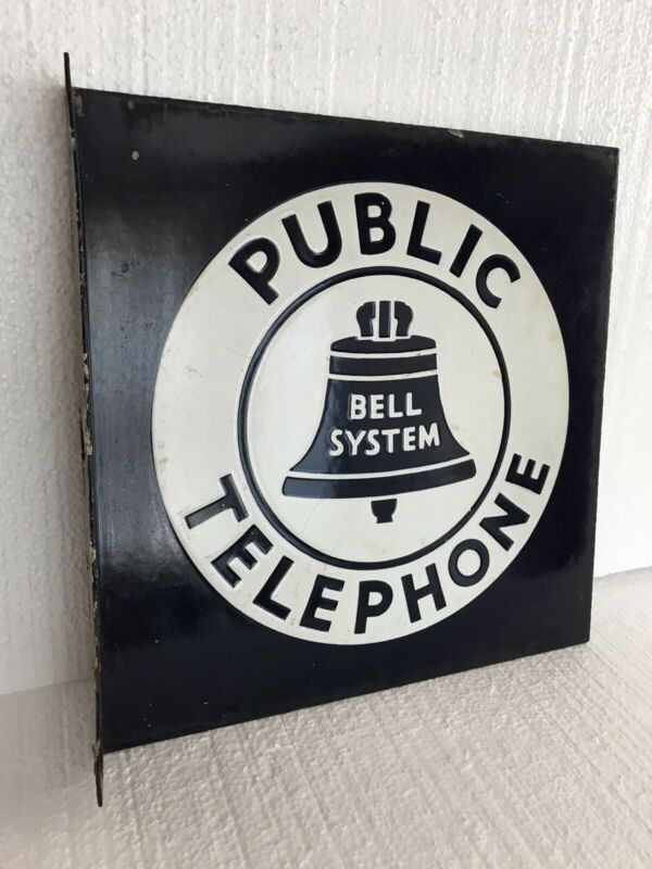 "Vintage Bell System Public Telephone Flanged Porcelain Double Sided Sign 11""x11"""