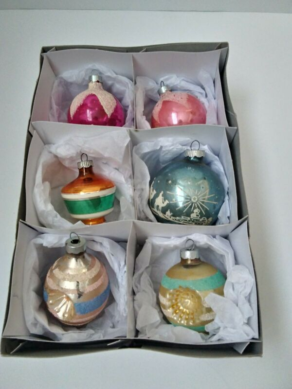Vintage Shiney Brite Colorful Glass Christmas Tree Ornaments In Box