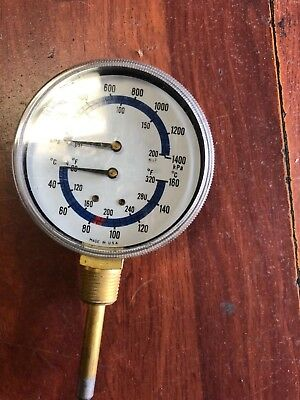 Boiler Gauge With 4 Dial And 34 Inch Npt 80 To 320 Fahrenhei Pressure 0 To 200