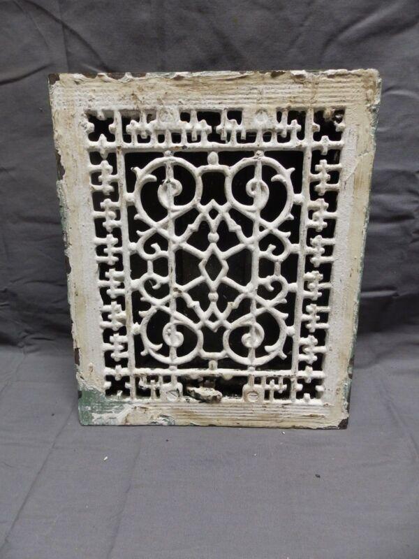 Antique Cast Iron Floor Wall Heat Grate 12x10 Louvres Victorian Design  328-18P