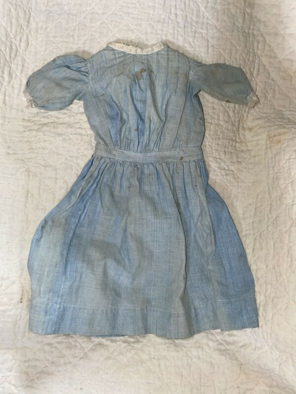 Antique Cotton Sky Blue Early Doll Dress