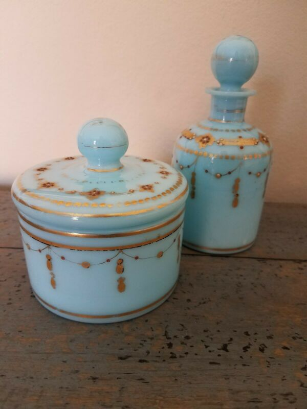 French Antique Blue Opaline Dresser Vanity Jar, likely Portieux Vallerysthal