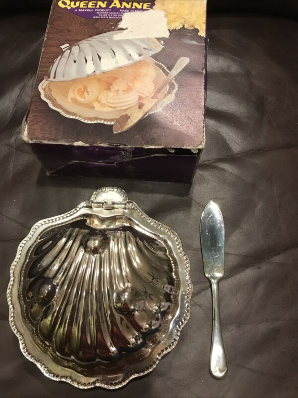 Vintage Queen Anne Silver Plated Clam Shell Butter Dish, Made in England