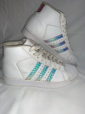 Adidas Youth Pro Model Shoes Girls Size 4 Sneaker High Top White/ Silver