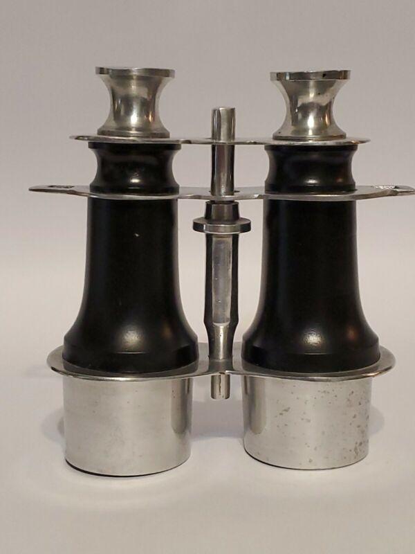 Vintage Faux Binoculars, Home Decor, Decorator, Black & Polished Aluminum