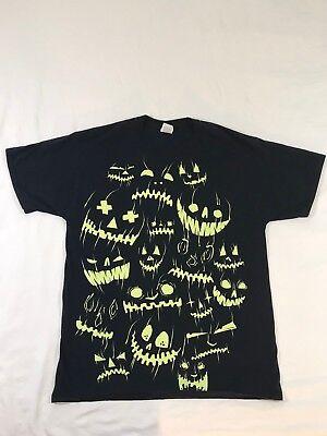 Halloween Acid Green On Black T Shirt Size L (Black Green Lantern Kostüm)