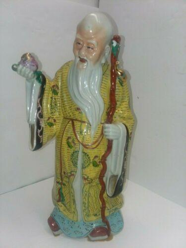 Shou Lao God of Longevity. Single word China on bottom porcelain