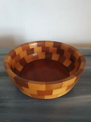 Wooden Patchwork Salad Fruit Bowl Retro Vintage 70s 80s