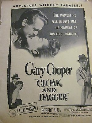 Cloak and Dagger, Gary Cooper, Lilli Palmer, Full Page Vintage Promotional Ad