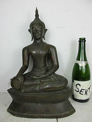 alte Buddha Bronze 100 % original Einzelstück Thailand ~1940 Einfuhrsiegel 44cm