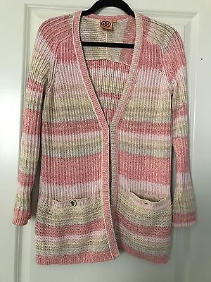 NWOT Tory Burch Beige And Coral Knit Cardigan Sz S