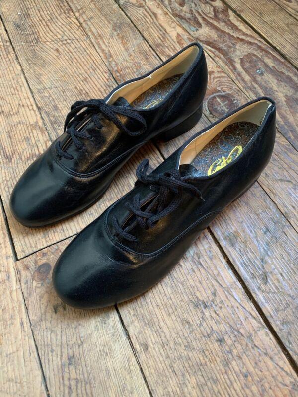 Capezio K360 Character Oxford Shoe Women's Size 8 M black Leather $310 Retail