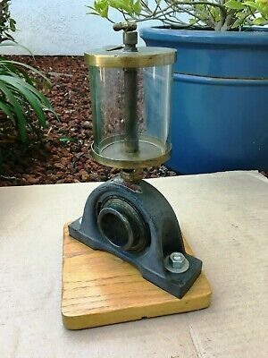 Large Antique Essex Brass Oiler On Bearing With Oak Base Display Look