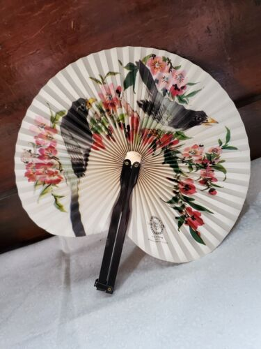 Vintage Shanghai Arts & Crafts Chinese Fan Crow Blackbird Asian Pied Starling?