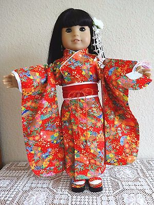 "NEW-DOLL CLOTHES-RED JAPANESE KIMONO Costume fits 18""Doll such as AG Doll-#278"